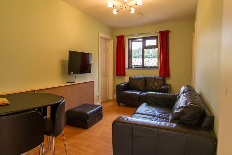 Lounge space with two sofas, table and wall mounted TV