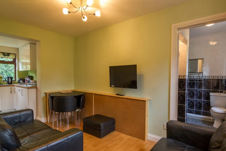 Lounge with two sofas and view of kitchen and bathroom, Brades Acre Camping Site, Stonehenge, Wiltshire, Salisbury, camping, holiday lodges